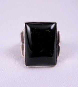 Navajo ~ Orville Tsinnie ~ Black Onyx Silver Ring sz12