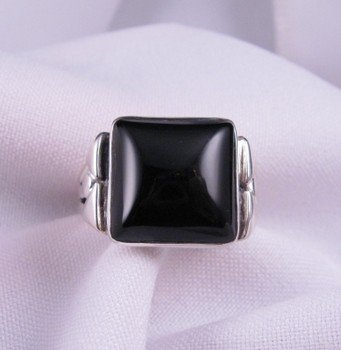 Image 0 of Square Black Onyx Navajo Silver Ring sz11, Orville Tsinnie