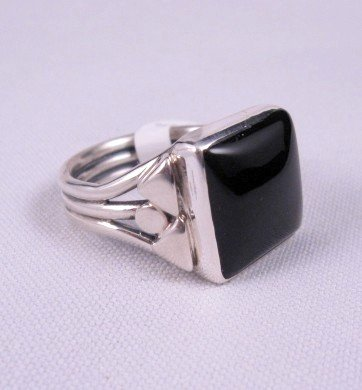 Image 1 of Square Black Onyx Navajo Silver Ring sz11, Orville Tsinnie