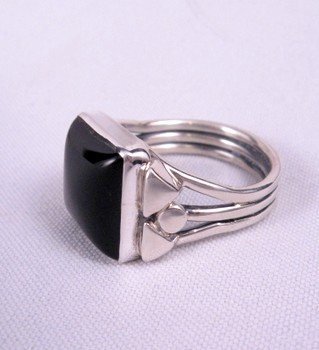 Image 2 of Square Black Onyx Navajo Silver Ring sz11, Orville Tsinnie