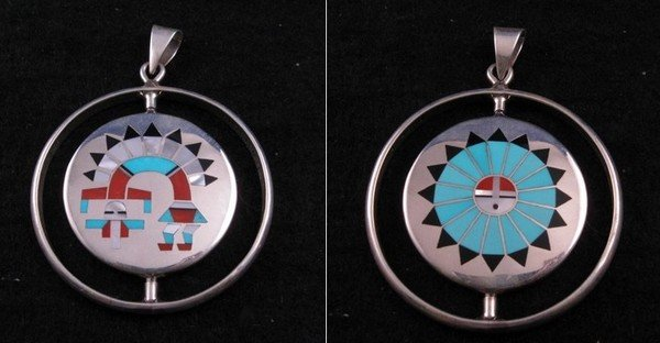 Image 0 of Fred & Lolita Natachu Zuni Rainbow Man / Sunface Spinner Pendant