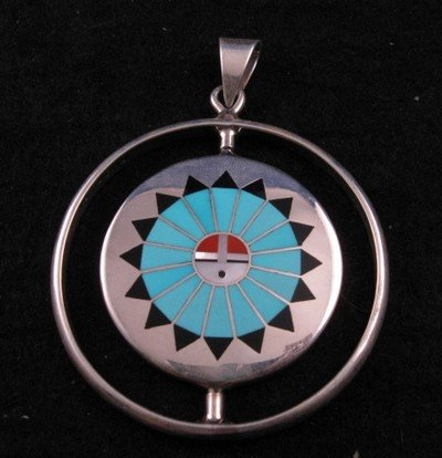 Image 2 of Fred & Lolita Natachu Zuni Rainbow Man / Sunface Spinner Pendant