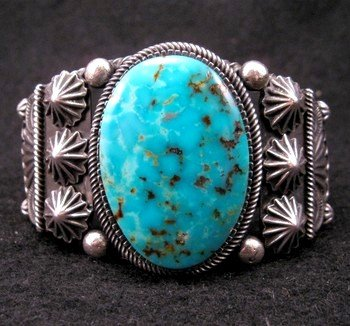Leon Martinez Navajo Turquoise Silver Bracelet