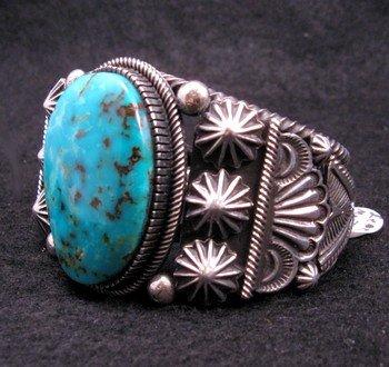 Image 1 of Leon Martinez Navajo Turquoise Silver Bracelet