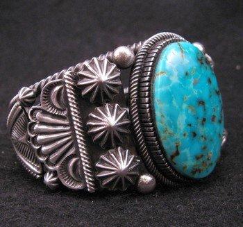 Image 2 of Leon Martinez Navajo Turquoise Silver Bracelet
