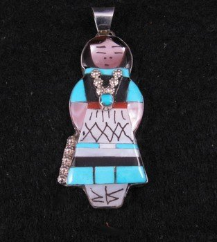 Big Zuni Native American Turquoise Indian Maiden Pendant, Joyce Waseta