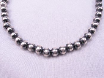 Image 0 of Native American 8mm Bead Navajo Pearls Sterling Silver Necklace 16inch