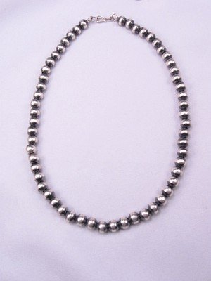 Image 1 of Native American 8mm Bead Navajo Pearls Sterling Silver Necklace 16inch