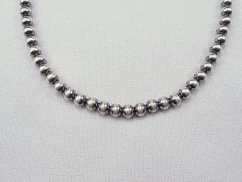 Image 0 of Native American 6mm Bead Navajo Pearls Sterling Silver Necklace 26-inch long