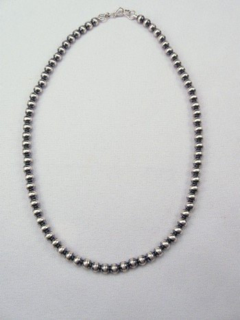 Image 1 of Native American 6mm Bead Navajo Pearls Sterling Silver Necklace 26-inch long