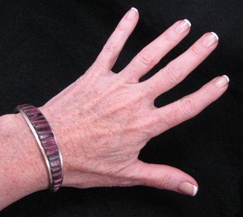 Image 0 of Native American Purple Spiny Oyster Cobblestone Inlay Bracelet