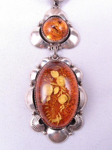 Big Navajo ~ Clem Nalwood ~ Amber Sterling Silver Pendant