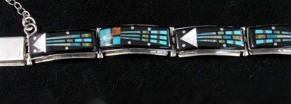 Image 2 of Sammy Smith ~ Navajo ~ Micro-Inlay Kachina Link Bracelet