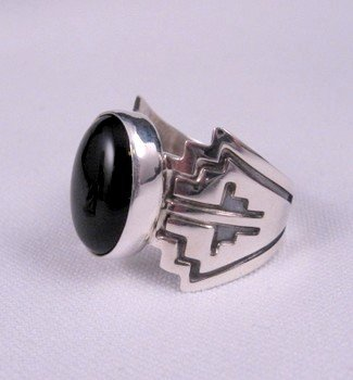 Navajo Sterling Silver Overlay Black Onyx Ring, Everett & Mary Teller, sz10