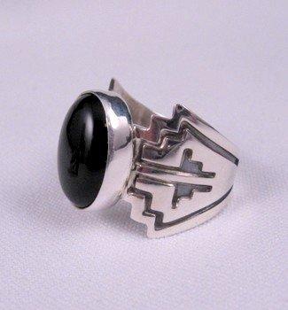Image 0 of Navajo Sterling Silver Overlay Black Onyx Ring, Everett & Mary Teller, sz10
