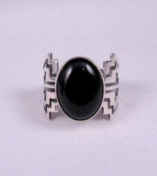 Image 1 of Navajo Sterling Silver Overlay Black Onyx Ring, Everett & Mary Teller, sz10