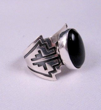 Image 2 of Navajo Sterling Silver Overlay Black Onyx Ring, Everett & Mary Teller, sz10