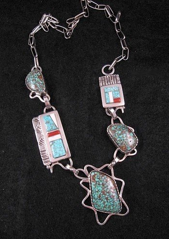 Image 0 of Navajo Erick Begay Sterling Silver Tufa Cast Turquoise Inlay Necklace