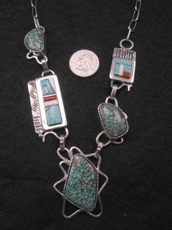 Image 1 of Navajo Erick Begay Sterling Silver Tufa Cast Turquoise Inlay Necklace