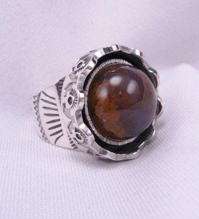 Sage Amethyst Agate Silver Ring, L. Bruce Hodgins, sz 11