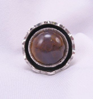 Image 1 of Sage Amethyst Agate Silver Ring, L. Bruce Hodgins, sz 11