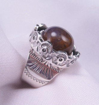 Image 2 of Sage Amethyst Agate Silver Ring, L. Bruce Hodgins, sz 11