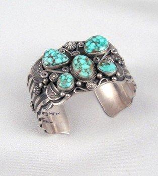 Image 1 of Delbert Gordon Navajo Turquoise Butterfly Silver Bracelet