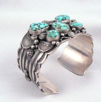 Image 2 of Delbert Gordon Navajo Turquoise Butterfly Silver Bracelet