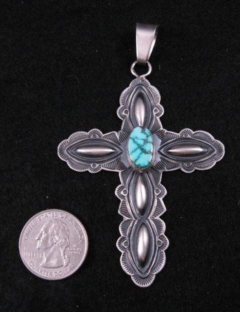 Image 1 of Navajo Old Pawn Style Turquoise Silver Cross Pendant, Derrick Gordon