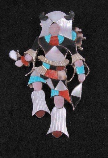 Jonathan Beyuka Zuni Buffalo Dancer Inlay Pin Pendant