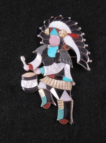Image 0 of Jonathan Beyuka Zuni Drummer Dancer Inlay Pin Pendant