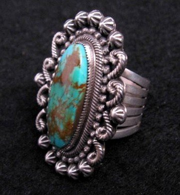 Image 1 of Leon Martinez Navajo Turquoise Silver Ring Sz8-1/2