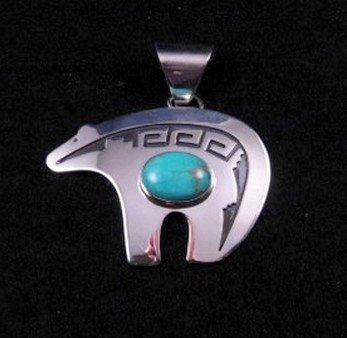Big Turquoise Navajo Silver Overlay Bear Pendant, Mary Teller