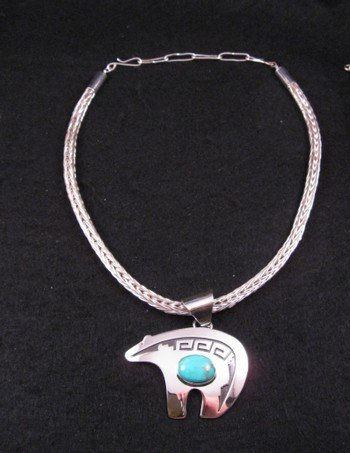 Image 1 of Big Turquoise Navajo Silver Overlay Bear Pendant, Mary Teller