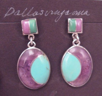Hopi Inlay ''New Moon'' Earrings, Bennard & Frances Dallasvuyaoma