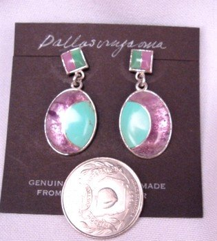 Image 1 of Hopi Inlay ''New Moon'' Earrings, Bennard & Frances Dallasvuyaoma