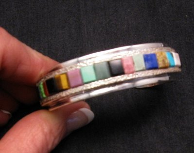Hopi Multi Stone Inlay Bracelet, Bennard & Frances Dallasvuyaoma