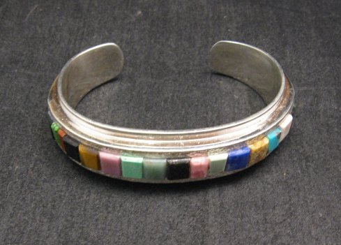 Image 2 of Hopi Multi Stone Inlay Bracelet, Bennard & Frances Dallasvuyaoma