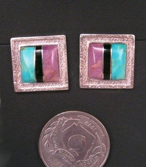 Hopi Raised Inlay Sun Solstice Earrings, Bennard & Frances Dallasvuyaoma
