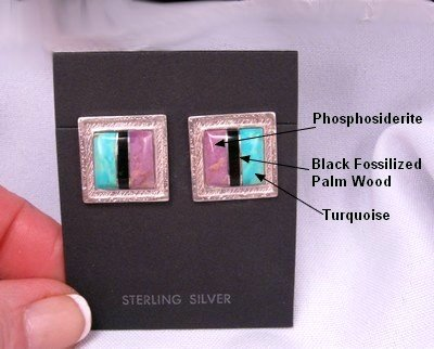 Image 1 of Hopi Raised Inlay Sun Solstice Earrings, Bennard & Frances Dallasvuyaoma