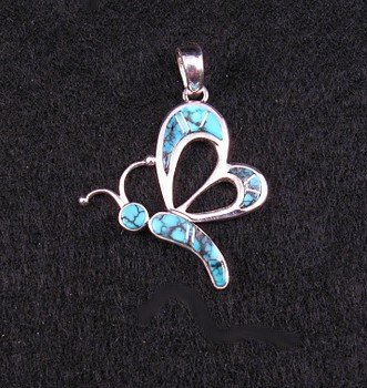 Navajo Earl Plummer Turquoise Inlay Butterfly Pendant
