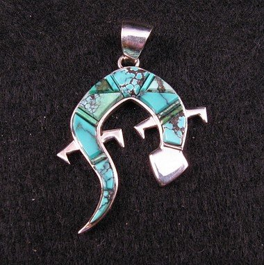 2-Sided Silver Turquoise Inlay Lizard Pendant, Navajo Earl Plummer