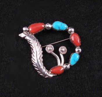 Carmelita Simplicio ~ Zuni ~ Turquoise Coral Silver Pin Pendant