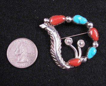 Image 1 of Carmelita Simplicio ~ Zuni ~ Turquoise Coral Silver Pin Pendant