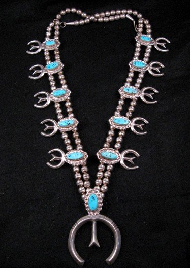 Navajo Dead Pawn Turquoise Silver Squash Blossom Necklace