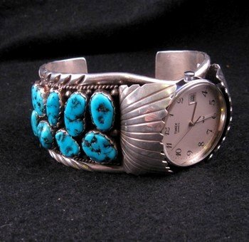 Large Navajo Dead Pawn Turquoise Watch Cuff, E Spencer