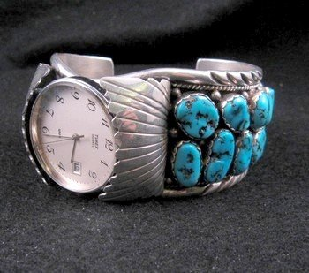 Image 1 of Large Navajo Dead Pawn Turquoise Watch Cuff, E Spencer