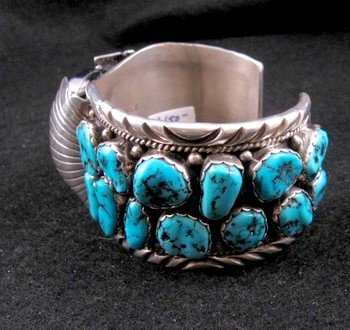 Image 2 of Large Navajo Dead Pawn Turquoise Watch Cuff, E Spencer