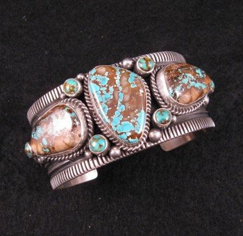 Navajo royston ribbon turquoise silver bracelet guy hoskie for Royston ribbon turquoise jewelry