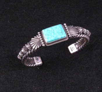 Darryl Becenti Navajo Turquoise Sterling Silver Bracelet, RIP